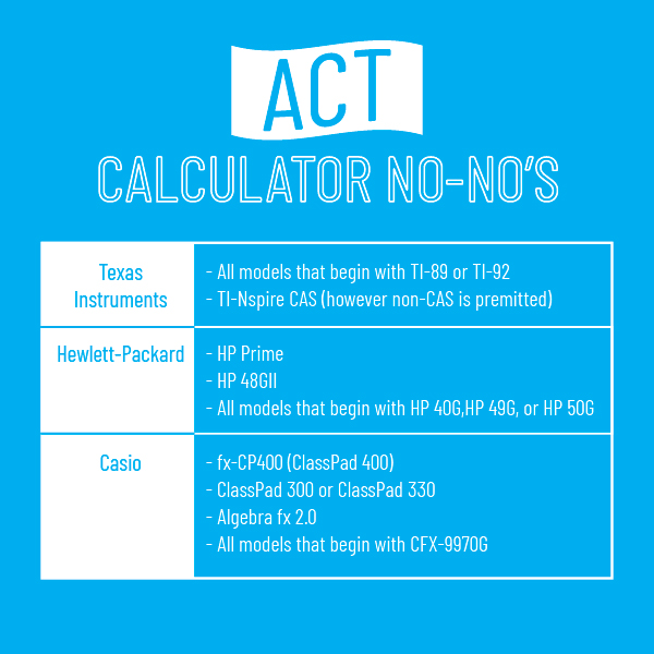 calculators not allowed on ACT