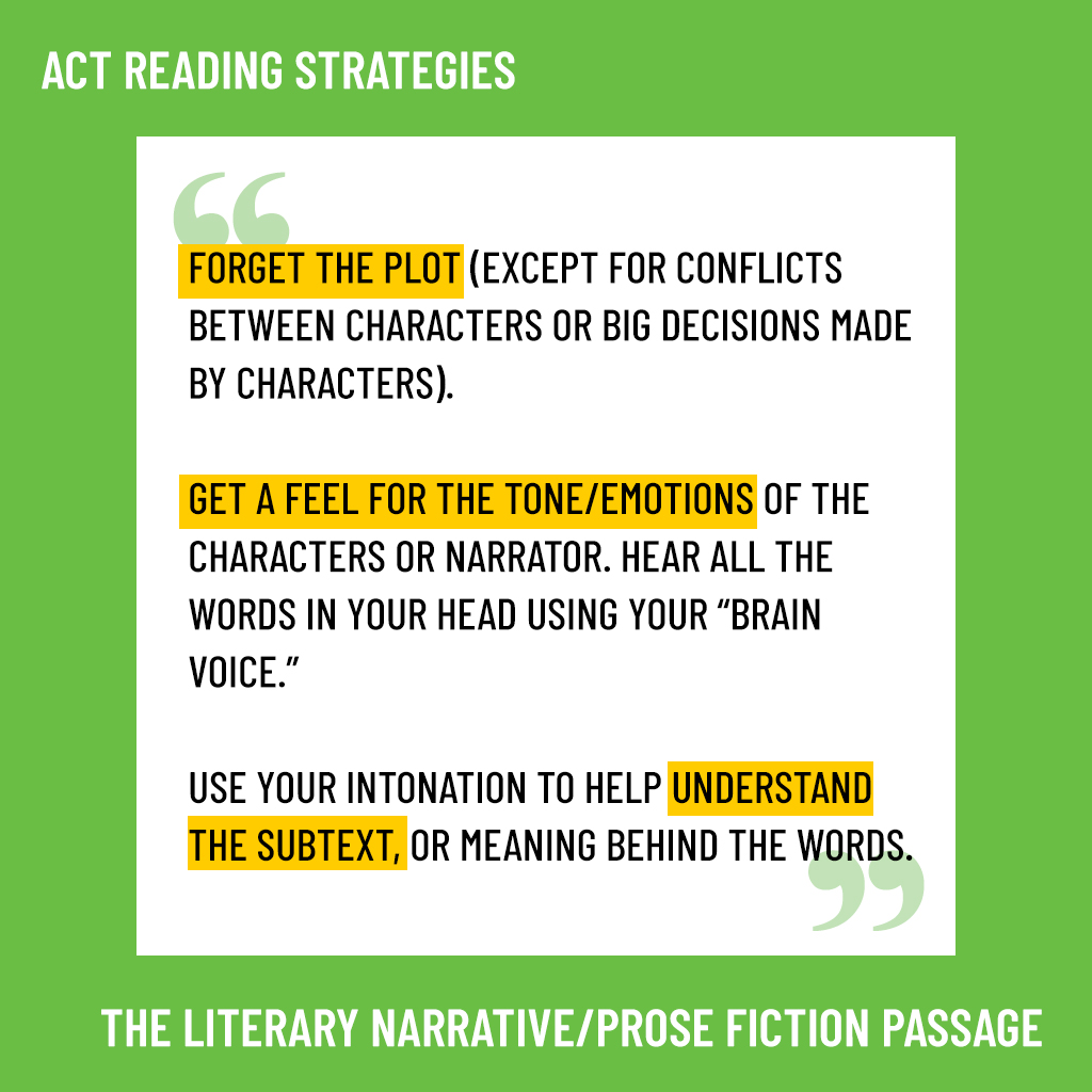 act Literary Narrative/Prose Fiction Passage strategies