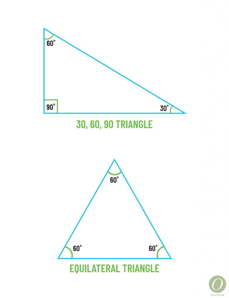 30, 60, 90 and equilateral triangle examples