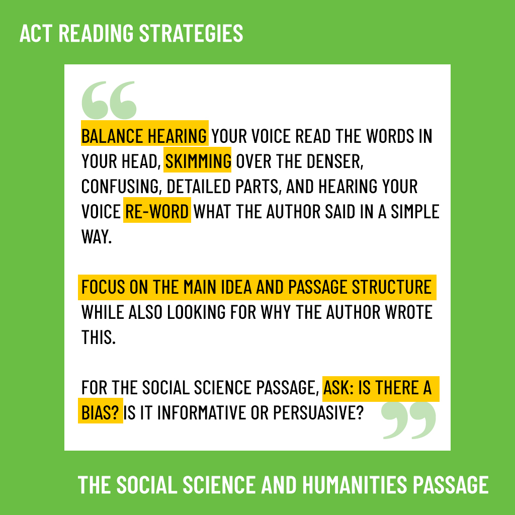 act social science and humanities passages strategies
