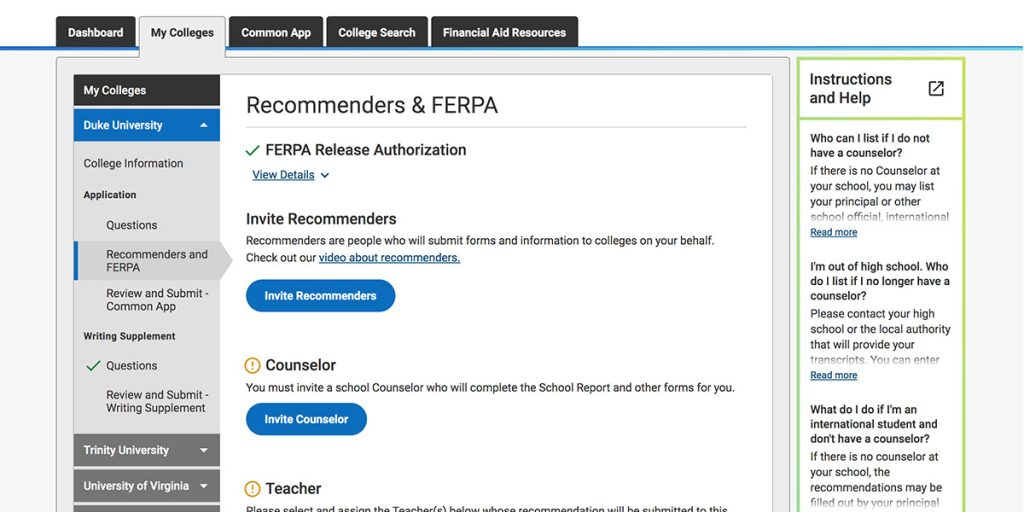 common app recommenders